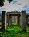 Stone architecture under open blue sky at Hampi Royalty Free Stock Photo