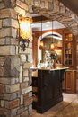 Stone Archway in Affluent Home Stock Photos