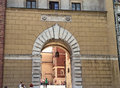 Stone archway at wawel castle in krakow poland this cut out of a brick wall opens into a courtyard the gothic grounds the Stock Images