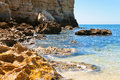 Stone Atlantic beach in Algarve Royalty Free Stock Images