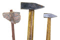 Stone ax and two hammers Royalty Free Stock Photo