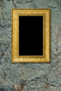 Stone background with gold frame Royalty Free Stock Photos
