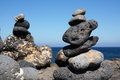 Stone balanced in lanzarote with sea view Royalty Free Stock Image