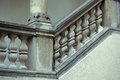 Stone balustrade of parapet old baroque as handrail staircase and column on grey background Stock Images