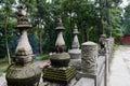 Stone balustrade before stupas chengdu china Stock Photography