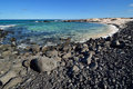 Stone beach on canary islands lanzarote spain caleta del mojon blanco Stock Photo