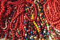 Stone beads necklace in many shades of colors Royalty Free Stock Photo
