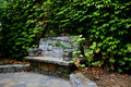 Stone bench at adrina beach resort garden skopelos greece Stock Image
