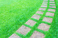 The stone block pathway in the backyard photo of Royalty Free Stock Photography