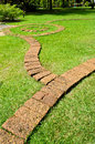 The stone block walkway  in the garden Stock Photo