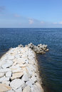 Stone breakwater Stock Photo