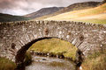 Stone bridge highlands ancient over river scotland uk retro style processing Stock Images