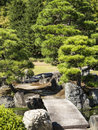 Stone bridge in japanese garden over pond a kyoto Royalty Free Stock Photo