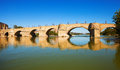Stone Bridge over Ebro river Royalty Free Stock Photo