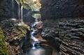 Stone bridge over Rainbow Falls in Watkins Glen State Park Royalty Free Stock Photo