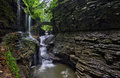 Stone bridge at Rainbow Falls in Watkins Glen State Park Royalty Free Stock Photo