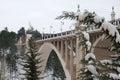 Stone bridge with snow in Teruel Royalty Free Stock Photo