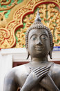 Stone buddha face statue in thailand Stock Photo