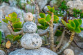 Stone cairns cairn as a metaphor of calm and peace Royalty Free Stock Images