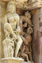 Stone carved erotic bas relief in hindu temple in khajuraho ind india unesco world heritage site Royalty Free Stock Photos