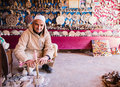 Stone carver at work small shop in a store that sells handmade souvenirs in ait ben haddou morocco Royalty Free Stock Photography