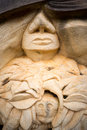 Stone carving a close up view of a in a shape of an ancient god Royalty Free Stock Photos