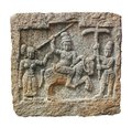 Stone carving of hindu gods on a granite rock Royalty Free Stock Image