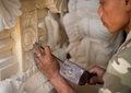 Stone carving at process Stock Photos
