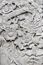 Stone carving on the wall. Royalty Free Stock Photo
