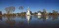 Stone chapel orthodox church russia near river Royalty Free Stock Photo