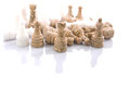 Stone chess pieces xiii made over white background Royalty Free Stock Photos