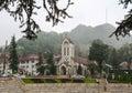 Stone church at rainy day in Sapa, Vietnam Royalty Free Stock Photo