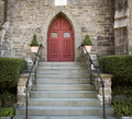Stone Church Red Door Royalty Free Stock Photo
