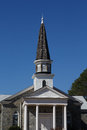 Stone Church with Wood Shingle Steeple Royalty Free Stock Photo