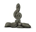 Stone clef on white background d illustration Royalty Free Stock Images