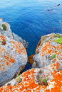 Colorful stone coast blue sea water Royalty Free Stock Photo