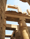 Stone columns and beams decorated with hieroglyphics in Egypt