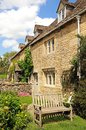 Stone cottages lower slaughter pretty in the centre of the village cotswolds gloucestershire england uk western europe Stock Image