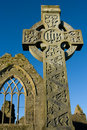 Stone cross and Athenry Friary details Royalty Free Stock Photos
