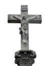Stone cross with christ crucified located on the road to santiago Stock Images