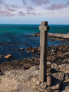 Stone cross at diaz point near luderitz namibia Royalty Free Stock Images