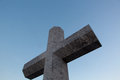 Stone cross in memory of deceased sailors. Lekeitio, Basque Royalty Free Stock Photo
