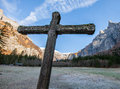 Stone cross and Mountain II Royalty Free Stock Photo