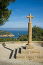 Stone cross old at portichol vantage point javea costa blanca Royalty Free Stock Image