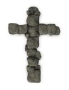 Stone cross shape of christian made with stones d illustration Royalty Free Stock Image