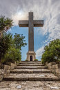 Stone cross at the top of Filerimos mountain, Rhodes island Royalty Free Stock Photo