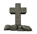 Stone cross on white background d illustration Stock Photo