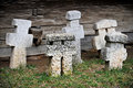 Stone crosses five weathered ancient made of Royalty Free Stock Photography