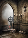 Stone crypt with bones tombstones and candles Royalty Free Stock Image