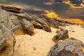 Stone desert on fantastic sunset background . Royalty Free Stock Photo